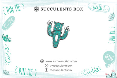 Cactus Cat Enamel Pin for sale, cat brooch for sale, cat cactus lovers, cactus gift box, succulents gift ideas, Gifts for cat lovers, Gifts for plant lovers