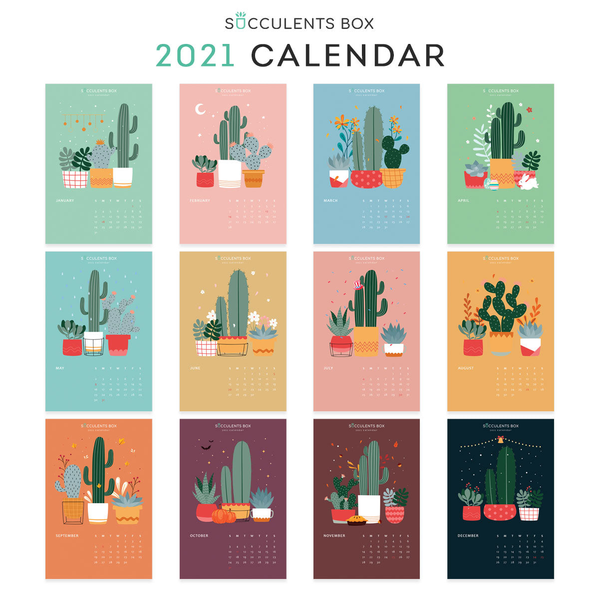 Calendar 2021 Printable Cute Background