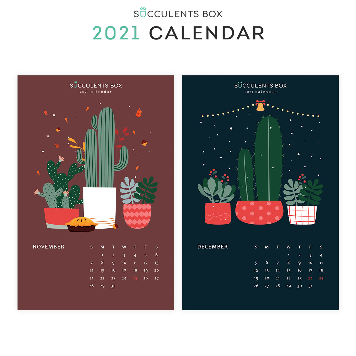 2021 Monthly Succulent Colorful Calendar | Free Printable ...