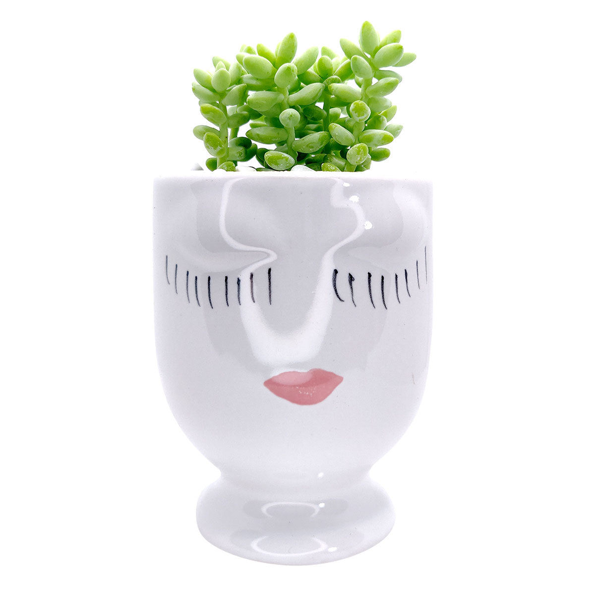 Hand-painted Pretty Lady Face Pot for sale, 4 inch pot for cactus and succulent plant, unique Artistic Lady Face Pots, modern home decor ideas, small ceramic pot for succulent, succulent gift ideas for women