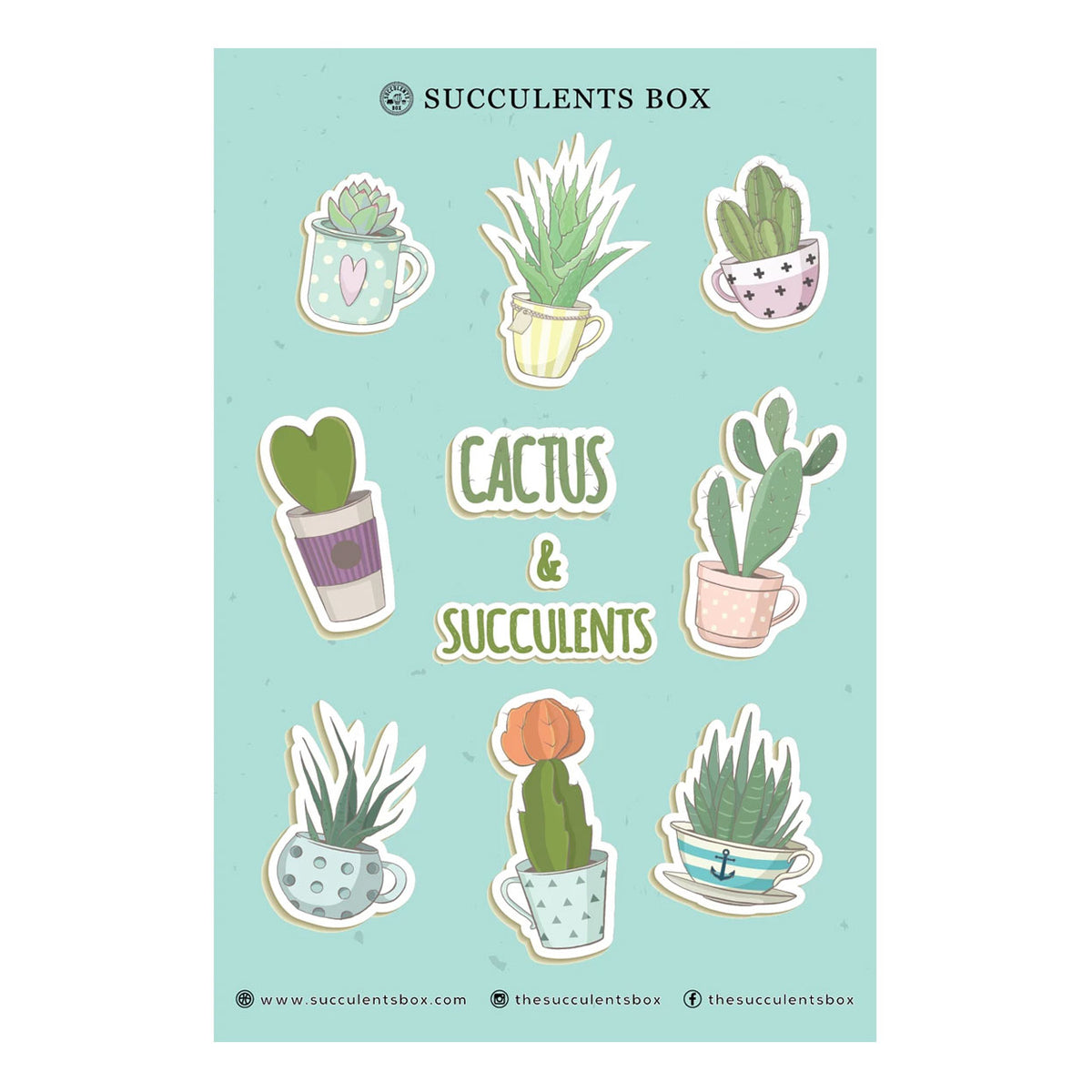 Cactus And Succulents Sticker Cute Potted Succulent Sticker Succulents Box