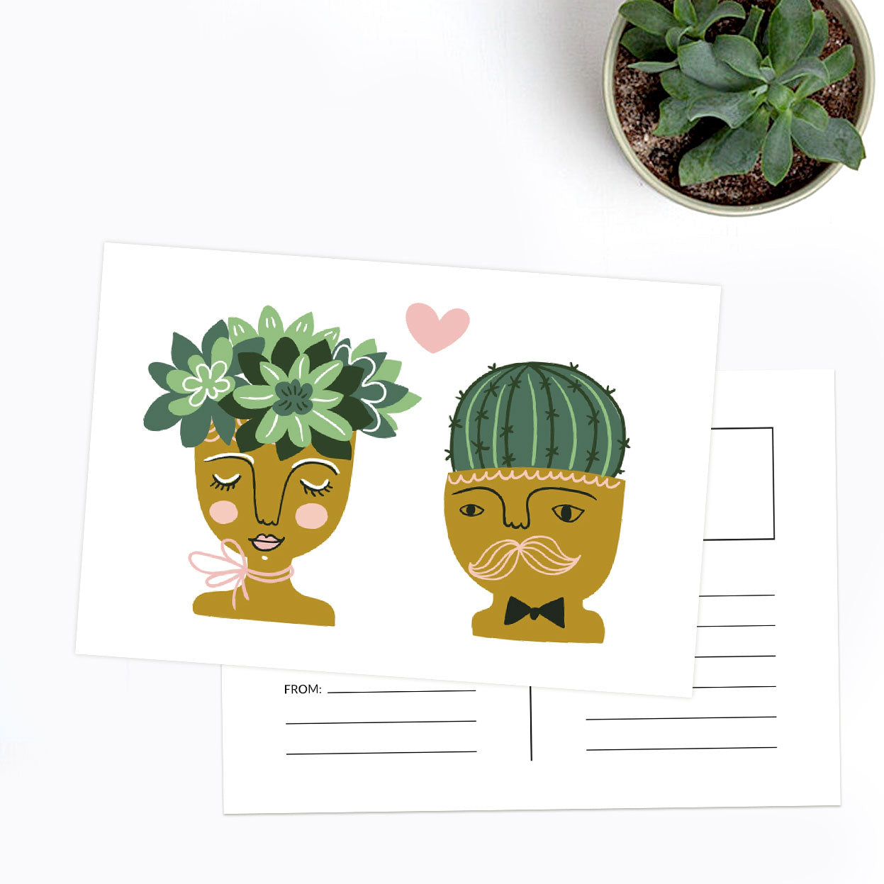 Succulent Anniversary Card for sale, Valentine's Day Card, Succulents Wedding Card, Succulents Gift Ideas