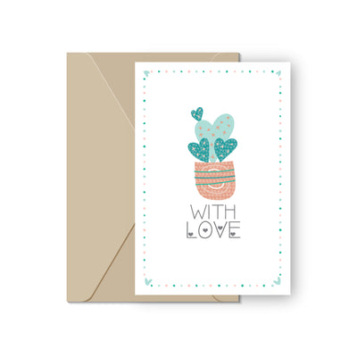 Heart Valentine's Day Card for sale, Succulents Greeting Card, Heart Cactus Valentine Day Card, Succulents Valentine Card for sale, Succulents Gift Ideas