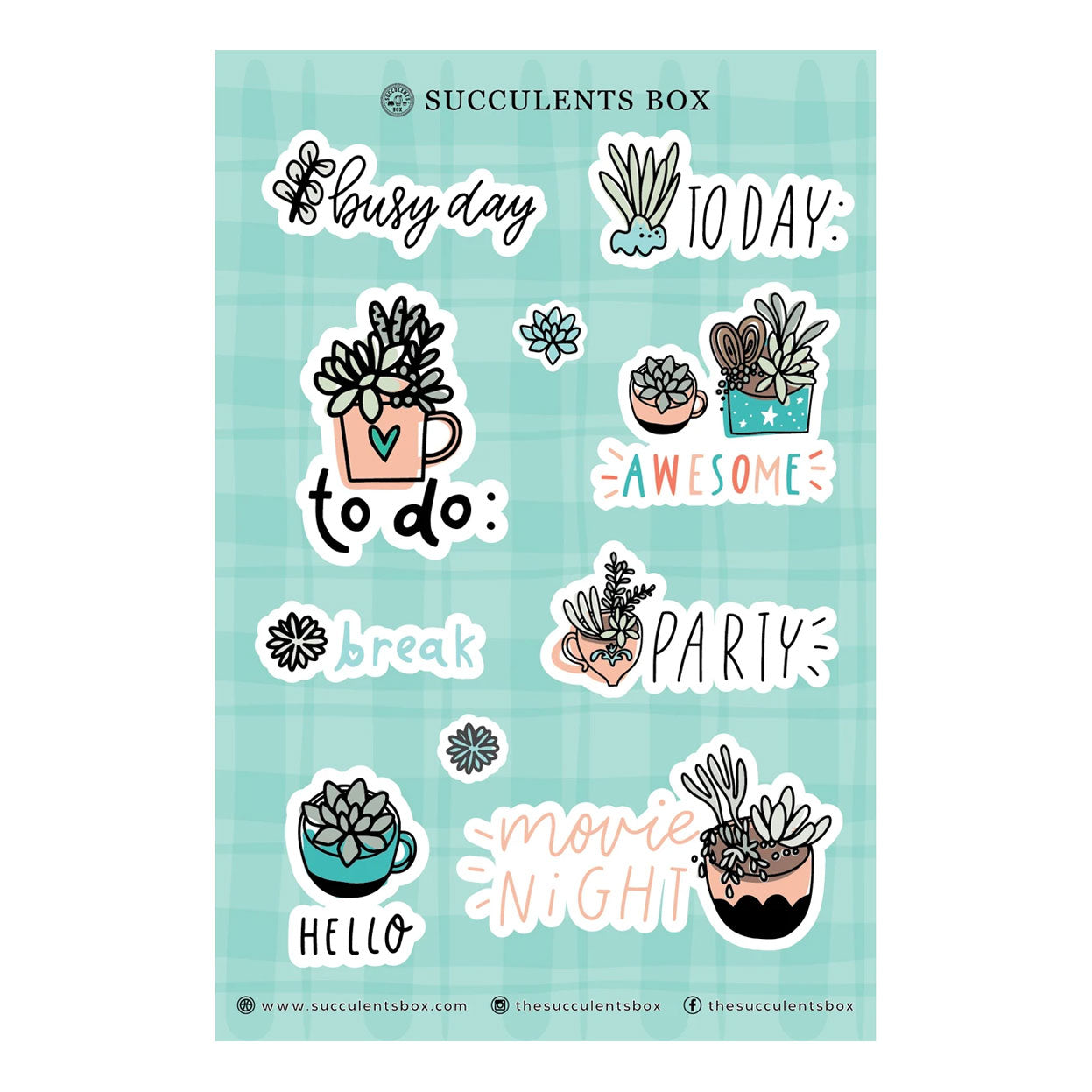Succulent Planner Sticker for sale, succulent craft ideas, succulent gift ideas, cute plant stickers, decorative scrapbook sticker for sale