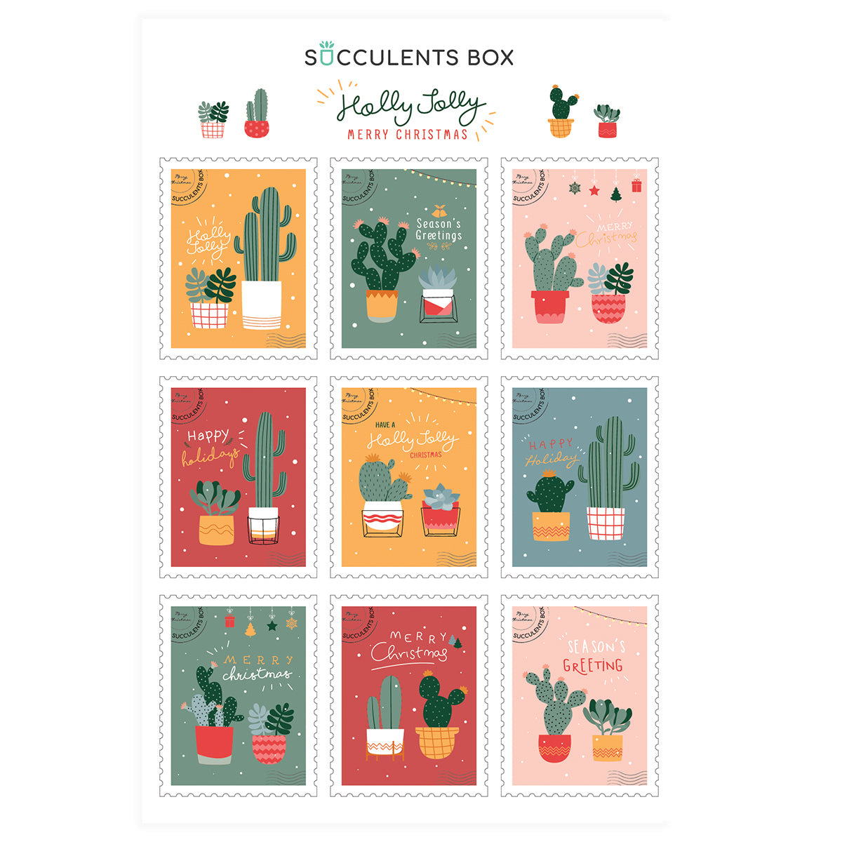 succulent stickers for sale, cactus stickers for sale, succulent craft ideas, succulent gift ideas, cute plant stickers, christmas stickers