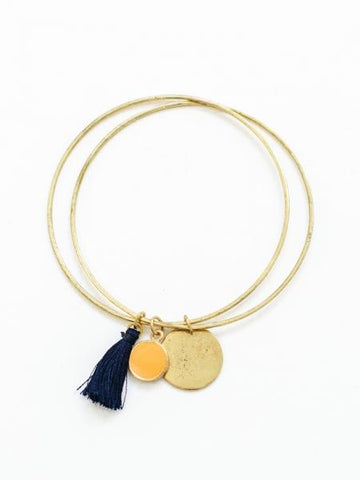 navy and yellow tassel bracelet