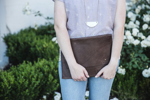 ethically made large leather clutch
