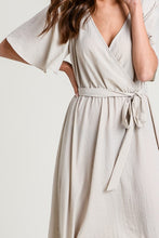 The Alexa Wrap Dress in Taupe
