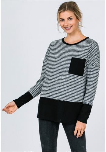 Nickie Black Striped Sweatshirt