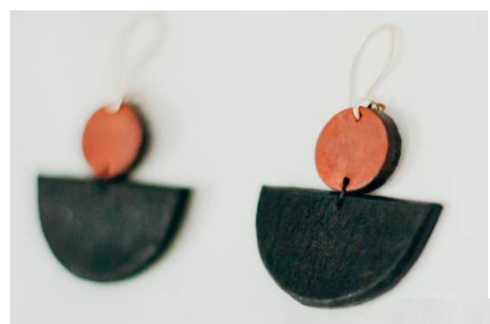Bateau Leather Earring Tan/Black