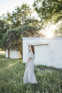 Sydney Off the Shoulder Dress in Navy & White Striped