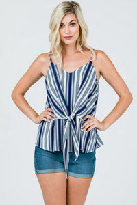 The Beth Top in Navy and White Stripes