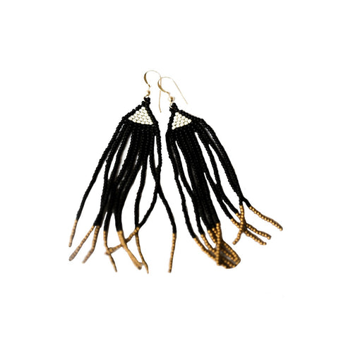 La Kay Beaded Earrings in Noir