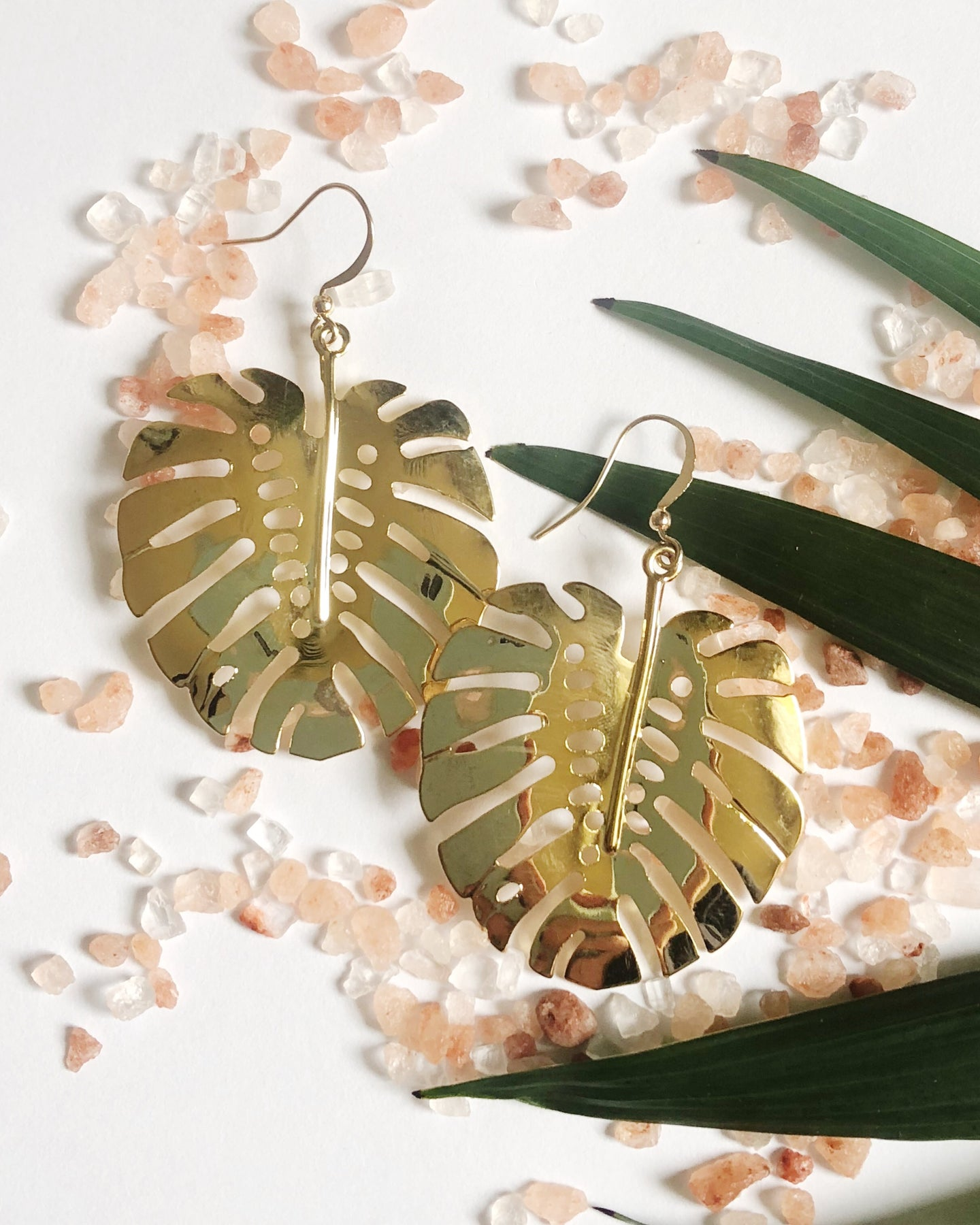 Monstera Leaf Earrings in Gold