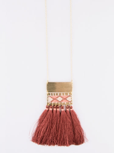 Fringe Tassel Necklace in Rose