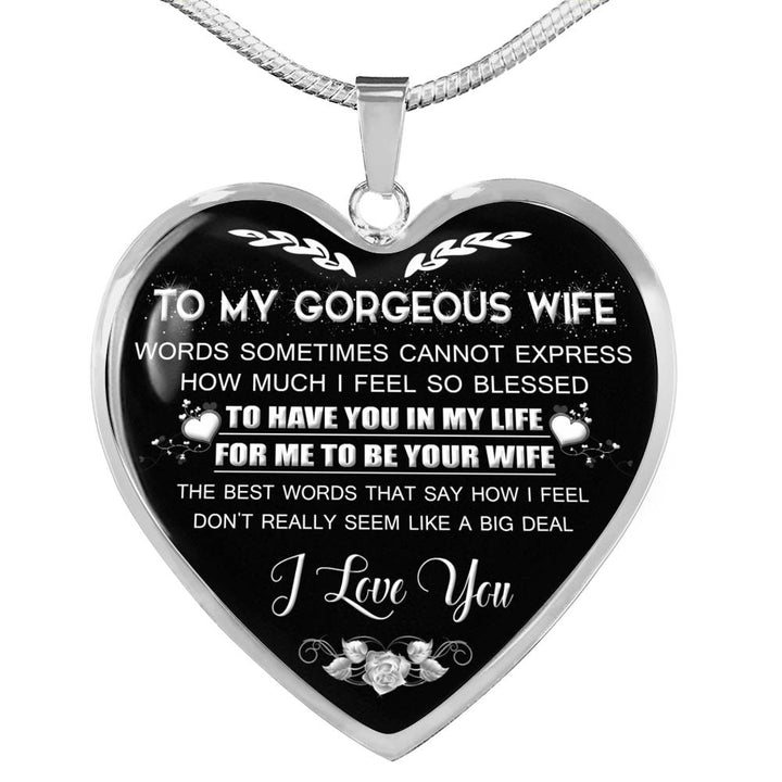 Wife Christmas Gifts.To My Wife Birthday Gifts For Wife Christmas Gift For Wife Idea Gift For Wife Necklace For Wife Family Gift Wife And Husband Necklace 1101ws