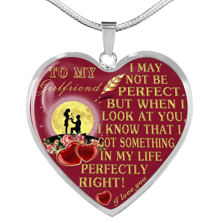 To My Girlfriend Necklace Pendant Boyfriend Heart Perfect Gift For