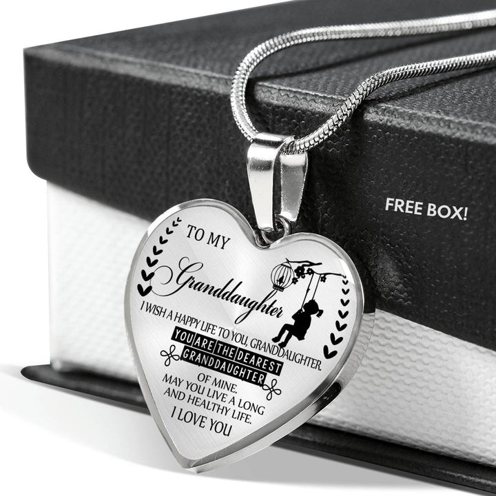 To my granddaughter-you snuggled right into granddad/'s heart silver necklace