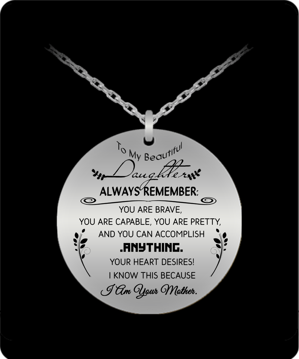 To My Daughter Love Dad Necklace Luxury Pendant Always Remember You are Braver