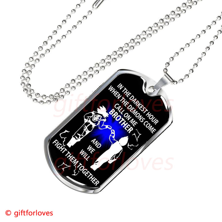 My Brother Dog Tag Necklace Son Goku Vs Vegeta Fan Dragon Idea Gift Gift For Loves