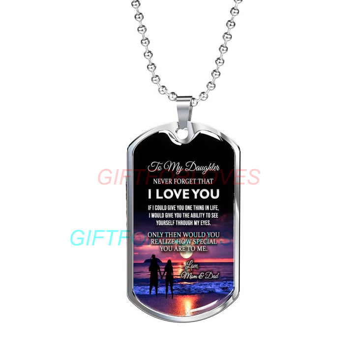 To My Daughter Dog Tag Birthday Gift Ideas For Necklace