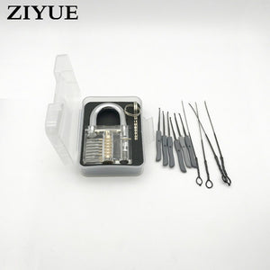 Clear padlock practice lock/Lock Pick Tool Set