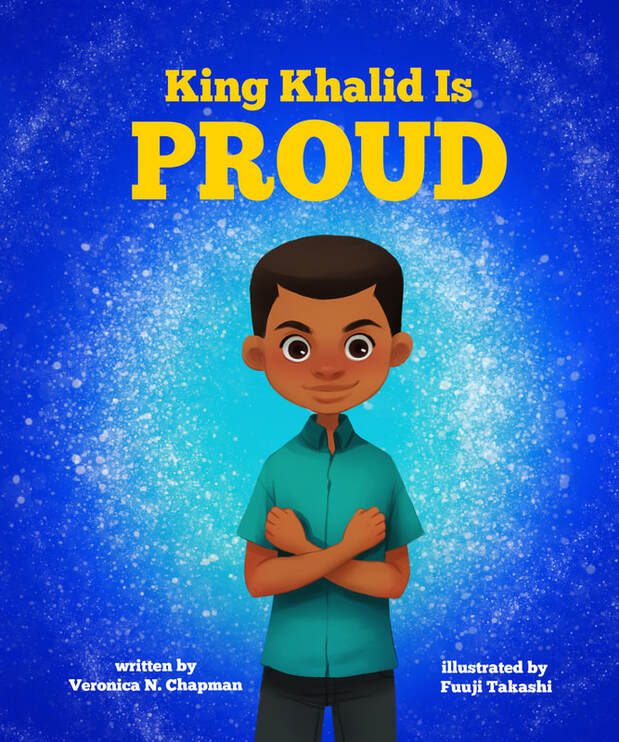 King Khalid is Proud childrens book cover. Brown boy on the cover.