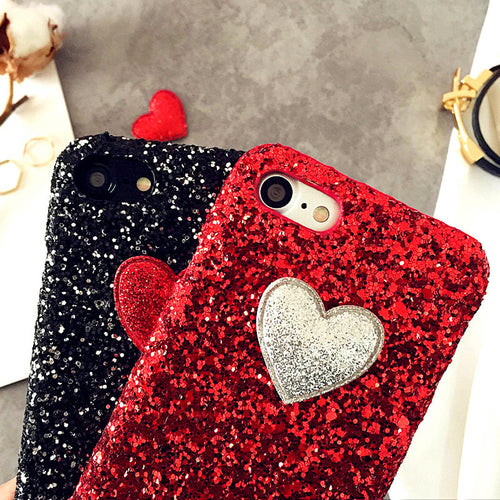 3D DIY Love Heart Case For iphone 7 6 6S Plus SE 5 5S Funda Fashion Bling Glitter Sparkle Powder