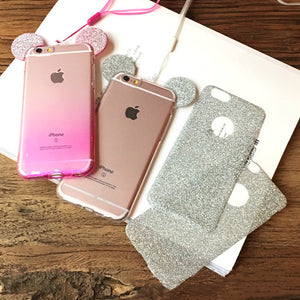 3D Mouse Ears Soft TPU Silicon Glitter Gradient Candy Color Phone Cases for iPhone 5 5S SE 6 6S 7 Plus Case Cover With Hang rope