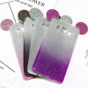 3D Mickey Minnie Mouse Ears Phone Cases For Samsung Galaxy S7 S6 edge S5 A5 J5 Case Cute Glitter Powder Gradient Soft TPU Cover