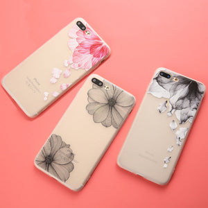 3D Relief Flower TPU Phone Cases For iphone 7 6 6s Plus Case Fashion Floral Shell Capa Ultra thin Soft Scrub Silicone Back Cover