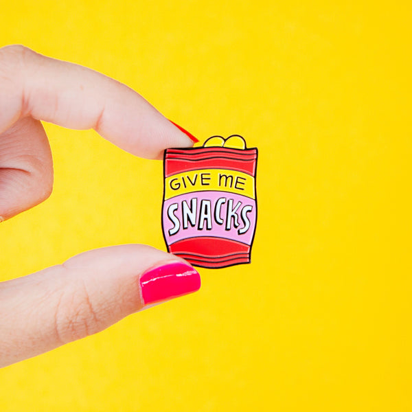 give me snacks chippie bag enamel pin Punky Pins NZ