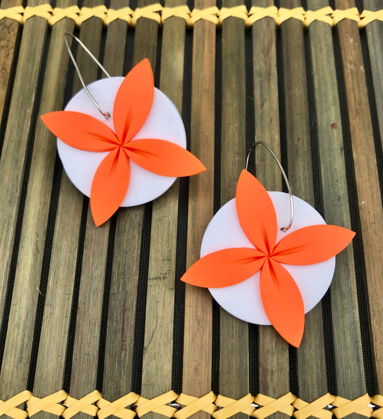 Orange and White Tipani Statement earrings