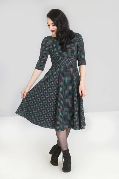 Hell Bunny green tartan Peebles 50s dress modeled
