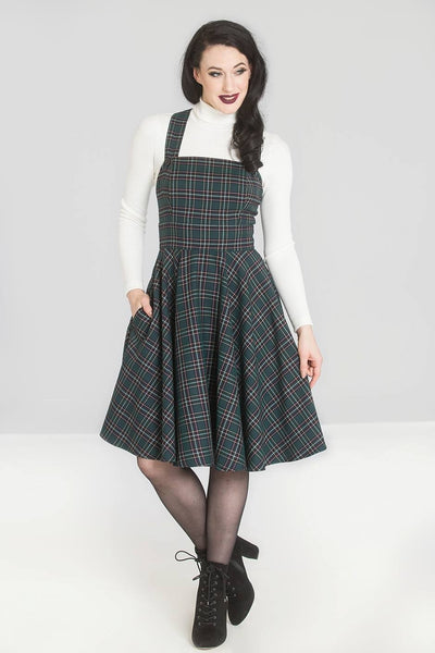 Hell Bunny Peebles green tartan pinafore dress modeled