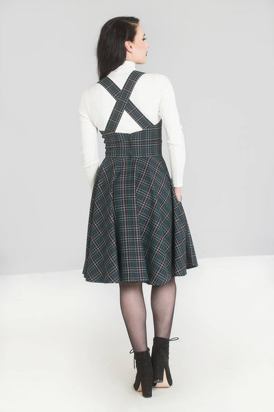 Hell Bunny Peebles green tartan pinafore dress modeled back