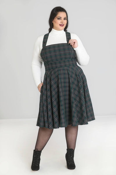 Plus size Hell Bunny green tartan Peebles pinafore dress modeled