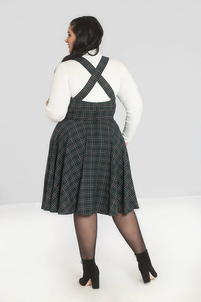 Plus size Hell Bunny green tartan Peebles pinafore dress modeled back