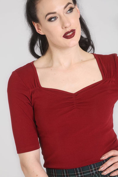 Hell Bunny burgundy Philippa top