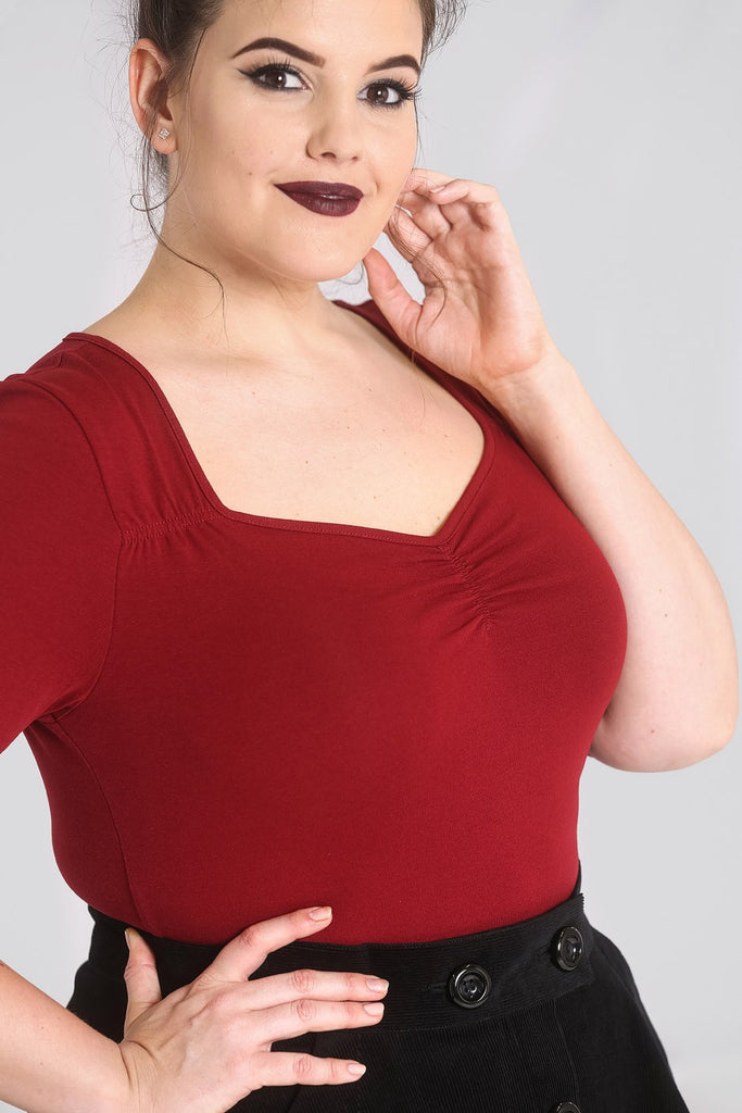 27c12693350d05 ... Plus size Hell Bunny burgundy Philippa top close up ...