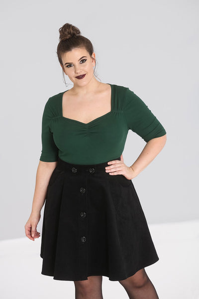 Plus size Hell Bunny dark green Philippa top