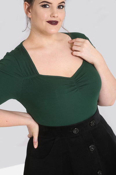 Plus size Hell Bunny dark green Philippa close up