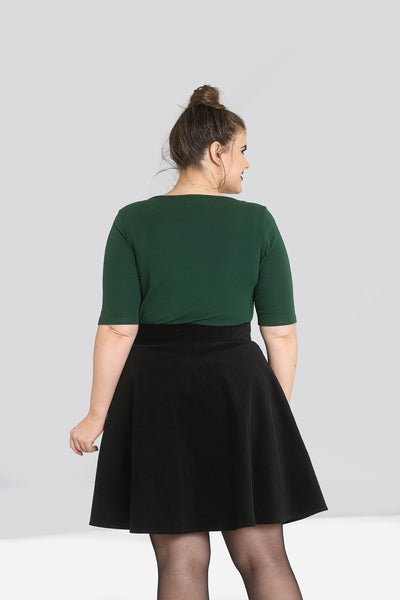 Plus size Hell Bunny dark green Philippa top back