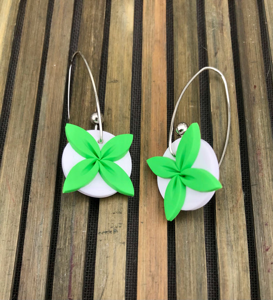 Lime and White Tipani earrings
