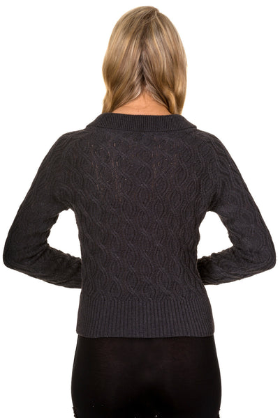 Charcoal Crystal cable knit cardigan