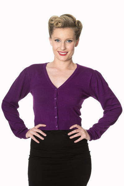 purple cropped pin up cardigan