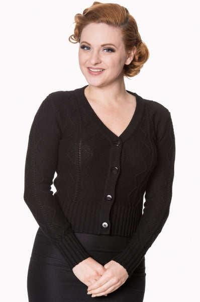 Empire black cable knit cardigan