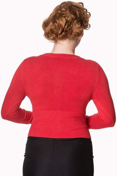 Banned-Dolly-basic-red-cardigan-nz-back