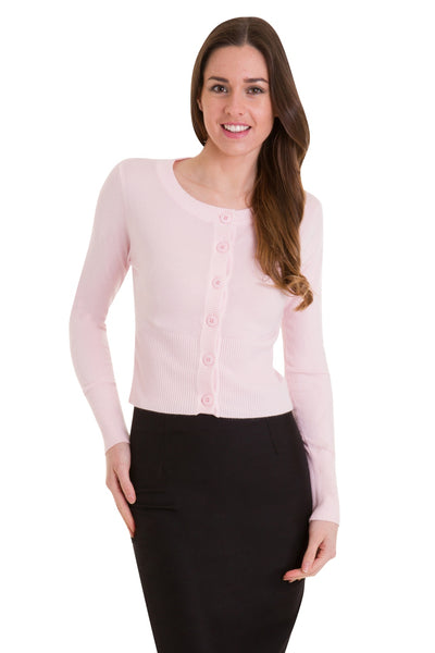 baby pink Dolly cardigan Banned Apparel front