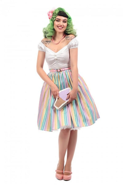 Collectif jasmine candy rainbow striped swing skirt NZ